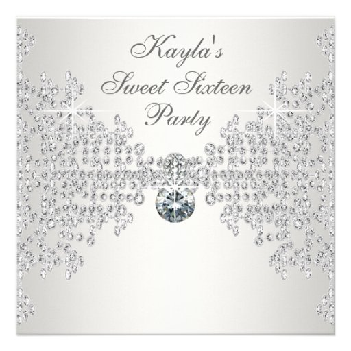 Silver Diamonds White Sweet Sixteen Birthday Party Personalized Invite