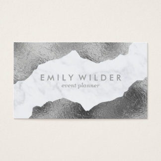 Silver Dipped Marble   Business Card