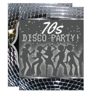 Silver Disco Ball Dance Party | Retro 70s Party Card