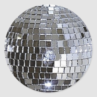 Silver Disco Ball Round Stickers