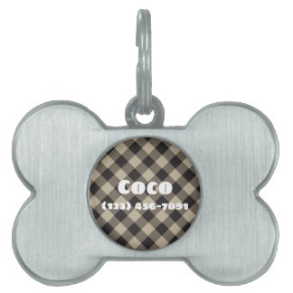 Silver Dog Bone Pet ID Tag Black Plaid Design