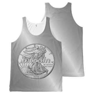 Silver Dollar Bitcoin Cryptocurrency HODL Funny All-Over-Print Tank Top