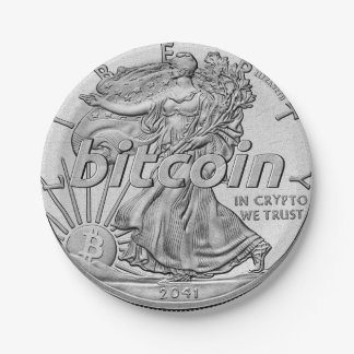 Silver Dollar Bitcoin Cryptocurrency HODL Funny Paper Plate