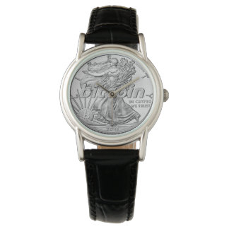 Silver Dollar Bitcoin Cryptocurrency HODL Funny Watch
