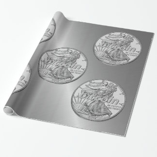 Silver Dollar Bitcoin Cryptocurrency HODL Funny Wrapping Paper