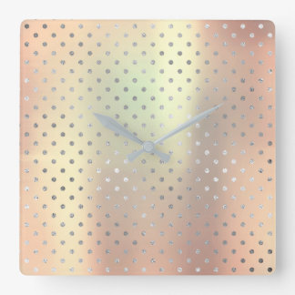 Silver Dots Pearly Metallic Blush Pink Rose Gold Square Wall Clock