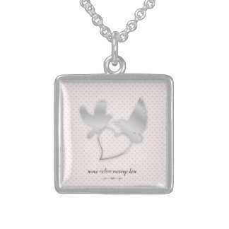 Silver Doves with a Silver Heart, Gentle Love Sterling Silver Necklace