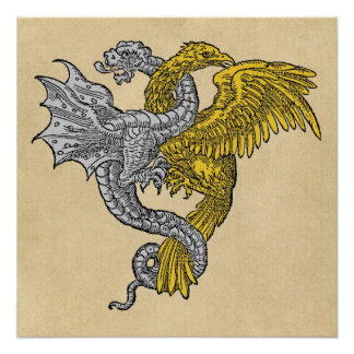 Silver Dragon and Golden Eagle Perfect Poster