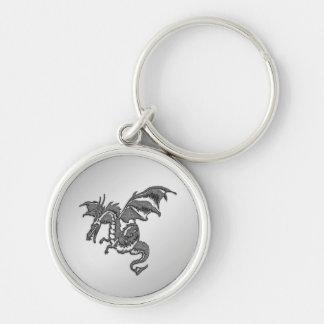 Silver Dragon Keychain