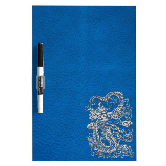 Silver Dragon on lapis Blue Leather Texture Dry Erase White Board