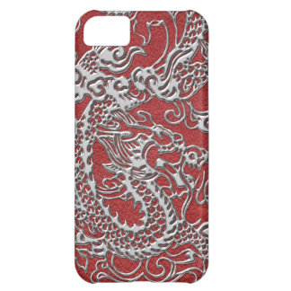 Silver Dragon on Red Leather Texture Cover For iPhone 5C