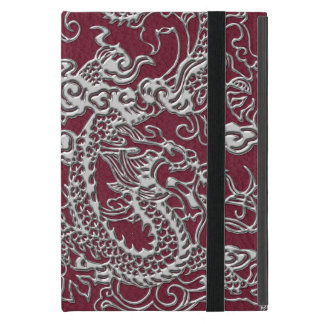 Silver Dragon on Red Wine Leather Texture Case For iPad Mini
