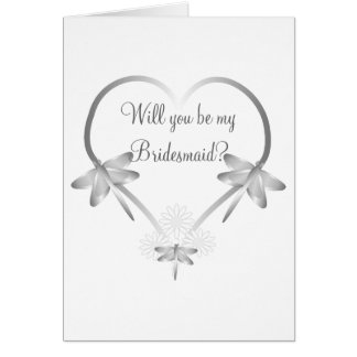 Silver Dragonfly Heart Bridesmaid Request Card