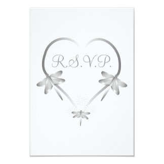 Silver Dragonfly Heart RSVP Card