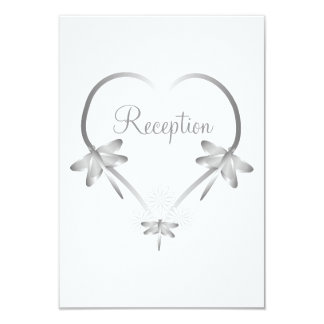 Silver Dragonfly Heart Wedding Reception Card