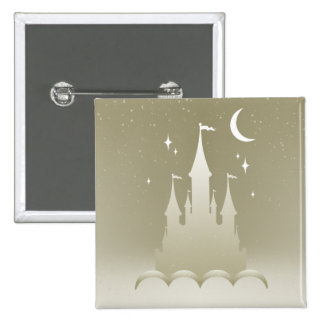 Silver Dreamy Castle In The Clouds Starry Moon Sky 2 Inch Square Button