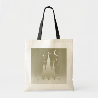 Silver Dreamy Castle In The Clouds Starry Moon Sky Budget Tote Bag