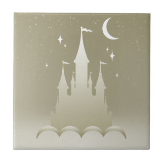 Silver Dreamy Castle In The Clouds Starry Moon Sky Ceramic Tile