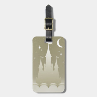 Silver Dreamy Castle In The Clouds Starry Moon Sky Luggage Tag