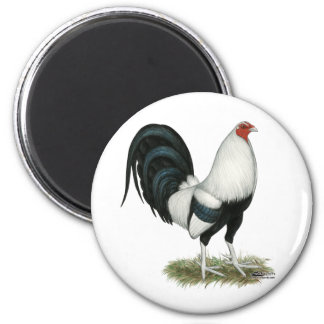 Silver Duckwing Gamecock 2 Inch Round Magnet