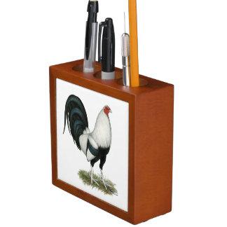 Silver Duckwing Gamecock Desk Organizer