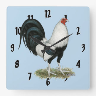 Silver Duckwing Gamecock Square Wall Clock