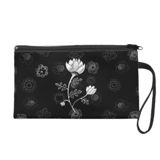 Silver Dust gray and black oriental style flowers Wristlet