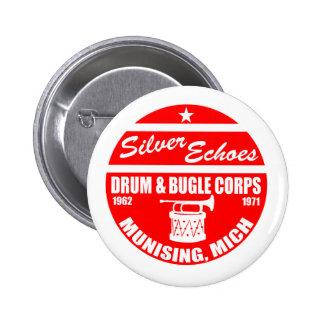 Silver Echo Drum and Bugle 2 Inch Round Button