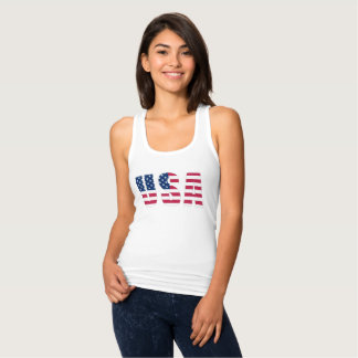Silver-Edged US Flag Women's Slim Fit Tank Top