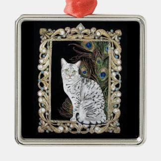 Silver Egyptian Mau Silver-Colored Square Ornament