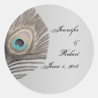 Silver Elegance Peacock Envelope Seal Round Sticker