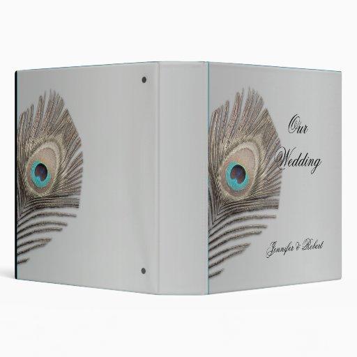 Silver Elegance Peacock Wedding Album 3 Ring Binder