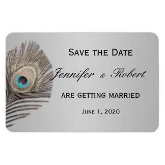 Silver Elegance Peacock Wedding Magnet