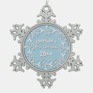 Silver Elegance Personalized First Christmas Pewter Snowflake Ornament