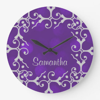 Silver Elegance Purple Sparkle Pers. Wall Clock