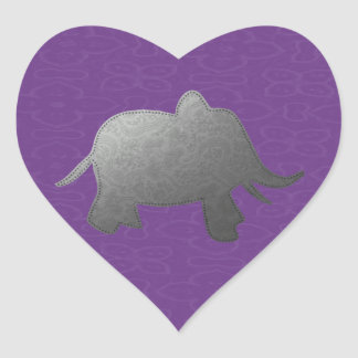 silver elephant - purple heart sticker