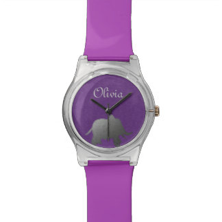 silver elephant - purple watches