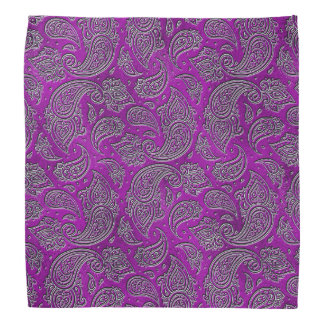 Silver embossed Paisley pattern on purple glass Bandana