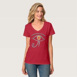 Silver Eye of Re Ladies Nano V-Neck T-Shirt