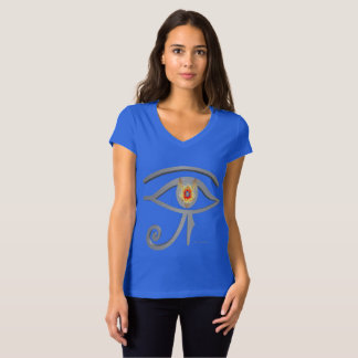 Silver Eye of Re Ladies V-Neck Jersey T-Shirt
