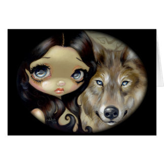 """Silver Eyed Wolf"" Greeting Card"