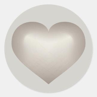 Silver fade heart on gray classic round sticker