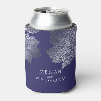 Silver Fall Leaves Navy Rustic Wedding Can Cooler