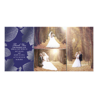 Silver Fall Leaves Wedding Photo Thank You Photo Card