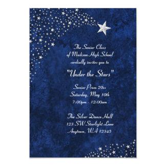 "Silver Falling Stars Blue Prom Formal Invitations 5"" X 7"" Invitation Card"