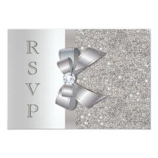 "Silver Faux Bow & Diamonds RSVP 3.5"" X 5"" Invitation Card"