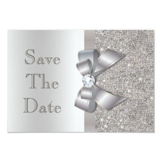 "Silver Faux Bow & Diamonds Save The Date 3.5"" X 5"" Invitation Card"