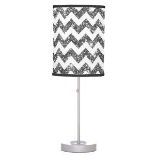 Silver Faux Glitter Chevron Pattern Girly Bling Table Lamp