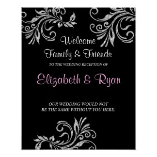 Silver Faux Glitter, Custom Wedding Welcome Poster