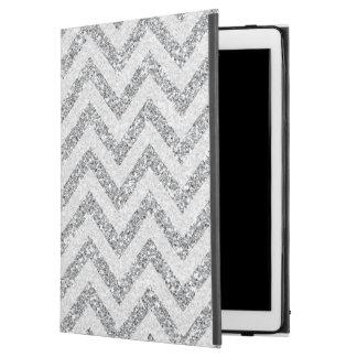 Silver faux glitter iPad Pro case chevron